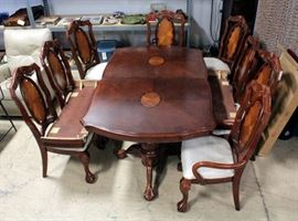"Large Rosewood Dining Room Table 29""H x 69""L x 43""W With Two Leaves 15""W Each, Eight Chairs And Custom Table Pads, COME SEE, OUR PHOTOS DO NOT DO IT JUSTICE"