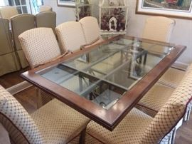 Wood and Glass Dining Room Table and 8 Chairs