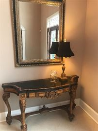Large Marble-topped Foyer Table With Grand Mirror