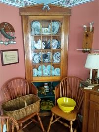 Corner Cupboard, 2 of a Set of 6 Windsor Chairs, etc.