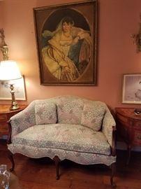 Queen Anne style sofa & Original antique Painting !