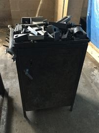 Metal cabinets, tools, scrap, etc.