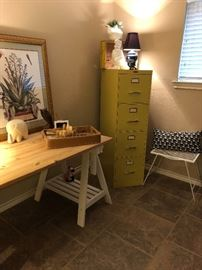 Rustic & Urban style saw horse desk and Mustard yellow vintage filing cabinet.  (Set up and Photo by BC)