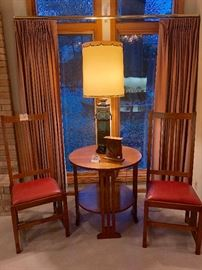 """Stickley Spindle Oak Side Chairs; Stickley Round Table (28"""" high); Stickley Mantle Clock; Marbro Lamp"""