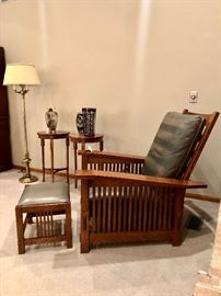 Stickley Spindle Morris Chair and ottoman