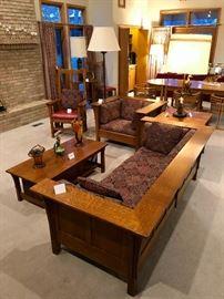Stickley Prairie Oak Settle; Stickley Prairie Oak Chair; Stickley Spindle Arm Chair; Stickley Cocktail Table