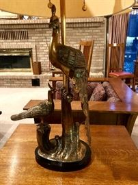 Marbro Brass Peacock Form Table Lamp
