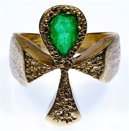 14k Gold and Emerald Ankh Ring