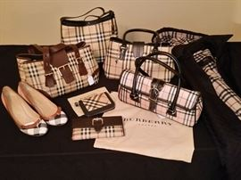 Burberry handbags, wallets, shoes, and coat