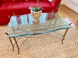 Swain coffee table with heavy beveled glass top