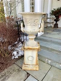 Large vintage iron planter with stand