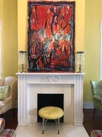 Mid Century Abstract oil on Canvas signed and dated
