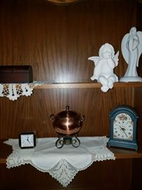 Copper pot, clocks, other knick knacks
