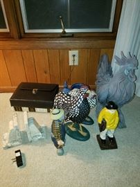 Marble book ends, roosters, other figurines.