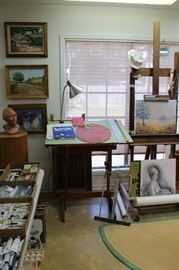 Sculpture, Oil On Canvas, Art Drafting Table, Art Easel And More!