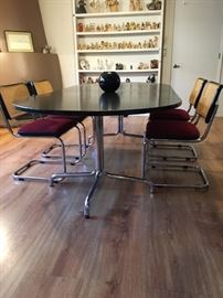 Thonet table and 4 Marcel Breuer stule chairs, ca 1976
