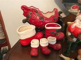Vintage Christmas items, Handpainted sleigh, Santa boots.