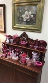 Antique mahogany Victorian sideboad,collection of vintage Fenton pieces with Betty Malone prints available.