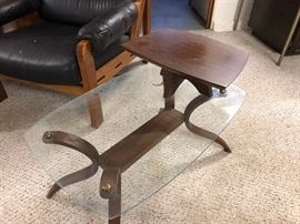 mid-century glass end table