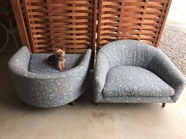 pair of Pearsall cloud chairs