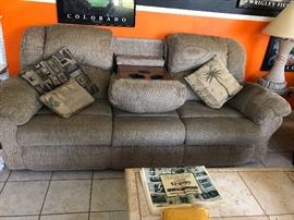 DOUBLE RECLINER COUCH WITH CENTER CUP HOLDER AND MASSAGE  CONTROLS