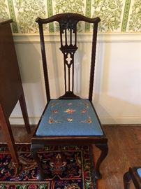 Gothic Revival dining chairs, needle point seat cushions