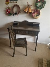 Antique small writing desk and chair