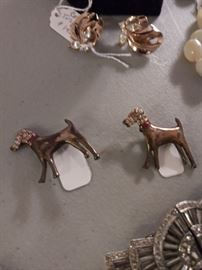 Matching sterling silver pup pins