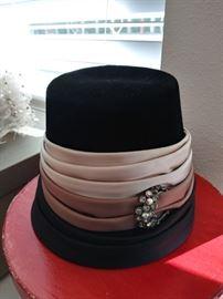 Vintage Joseph Magnin wool, silk and rhinestone hat