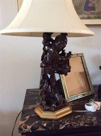 HAND CARVED WOOD LAMP