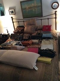 King Size Bed and Vintage Purses