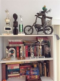 Books and Golf Trophies
