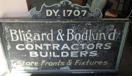BLIGARD & BODLUND CONTRACTORS / ADVERTISING SIGN / ORIGINAL METAL & WOOD / TWO SIDED