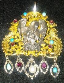 Austro Hungarian EAGLE Pendant Natural Stones - Garnets; Turquoise; Baroque Pearl
