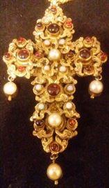 Austro Hungarian Silver Gilt Pectoral Cross Natural Stones - Cabochon Garnets; Baroque Pearls; Opals