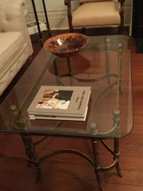 Glass and distressed metal coffee table and end table, was $400 now $200