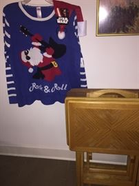 wooden tV trays and the ugly Christmas sweater to end all Christmas sweaters