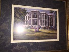 five framed artist signed prints of Louisiana