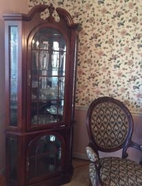 Pretty curio mirrored cabinet and the previous listed Victorian-like chair.