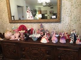 Stunning collection of Royal  Daulton lady figurines and rare , unique Fenton glass pieces- vases, baskets, ginger jar - Hand painted, frosted ,  iridescent .