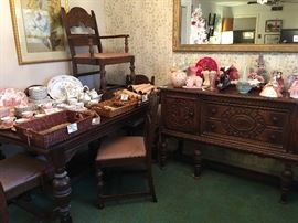 Beautiful dining table & chairs. Also antique buffet or server - Elegant & ornate