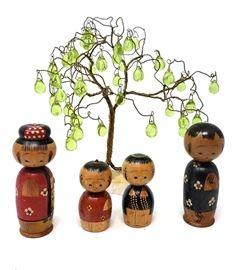 Jade Tree and Japanese Bobble Head Nesting Dolls