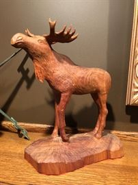 Wooden moose carving