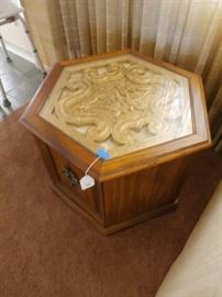 ONE OF TWO END TABLES WITH GOLD INSERTS