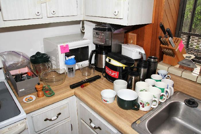 Microwave, Coffee Pot, Water Pitcher, Cups, Utensils
