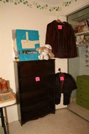 Small Book Shelf, Mink Stole and Mink Jacket