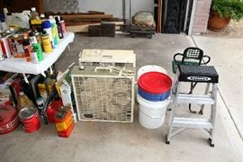 Fans, Buckets, Step Stool, Gas Cans