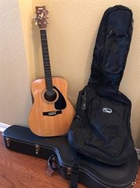 Yamaha guitar and cases