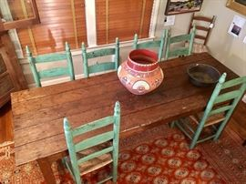 Primitive Pine Table Chairs