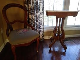 Victorian slipper chair - with a floral needlepoint seat + Victorian parlor table